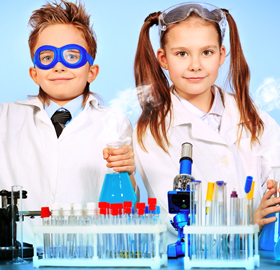 children with science equipment