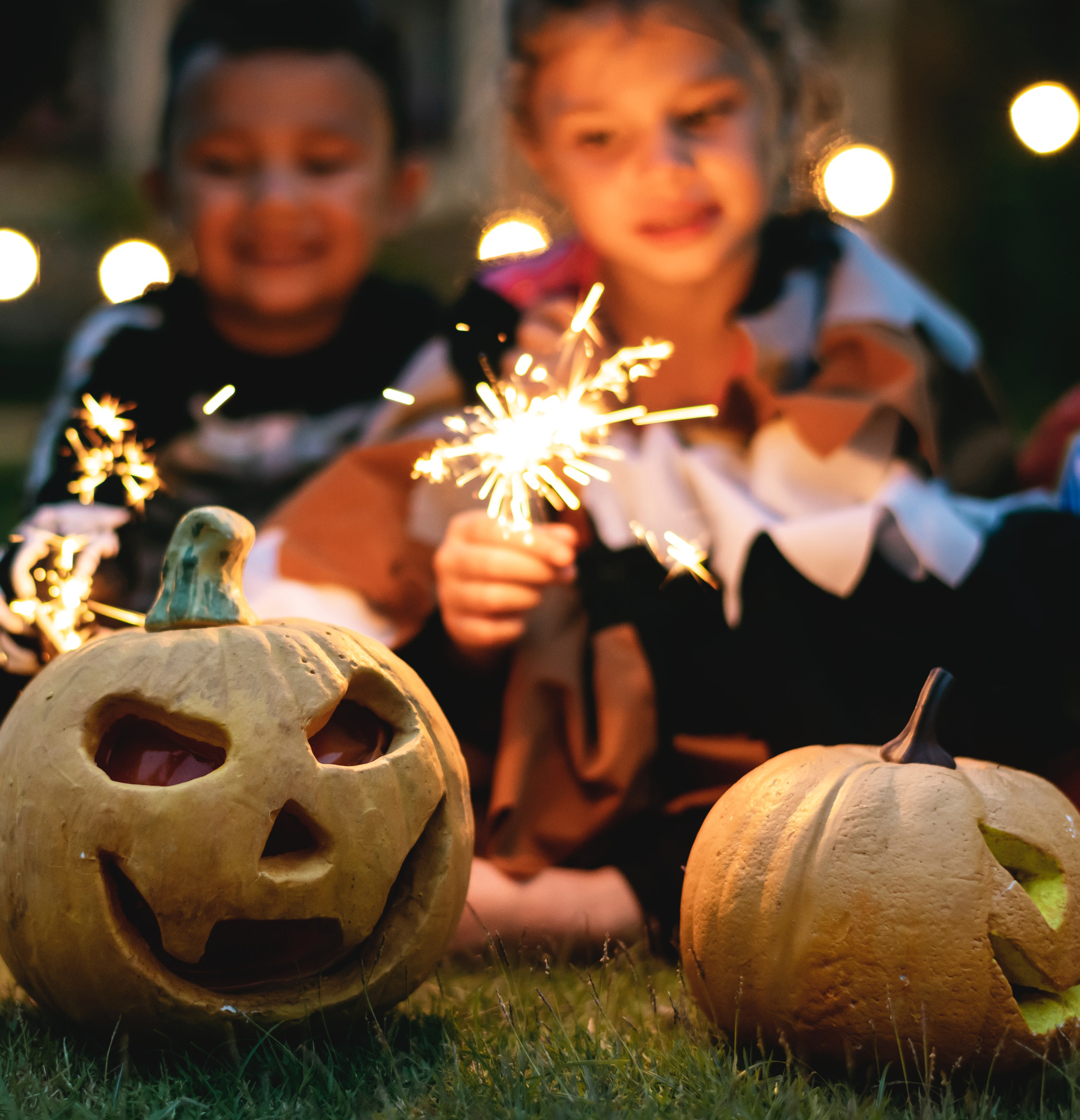 Pumpkins and kids and crafts for Halloween