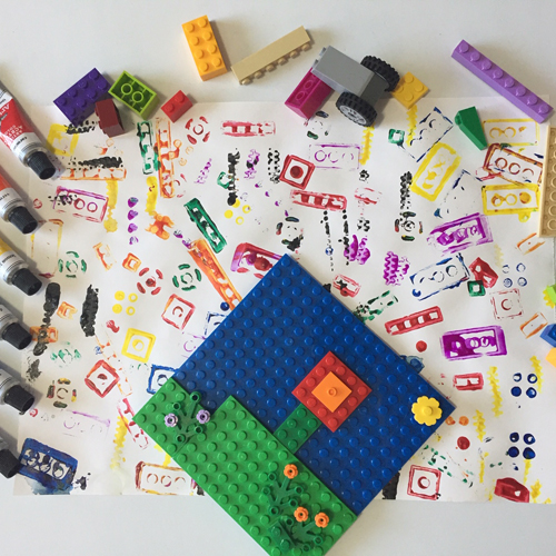 Paint with LEGO to make colourful stamps