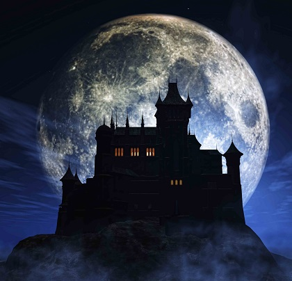 spooky mansion at night with full moon