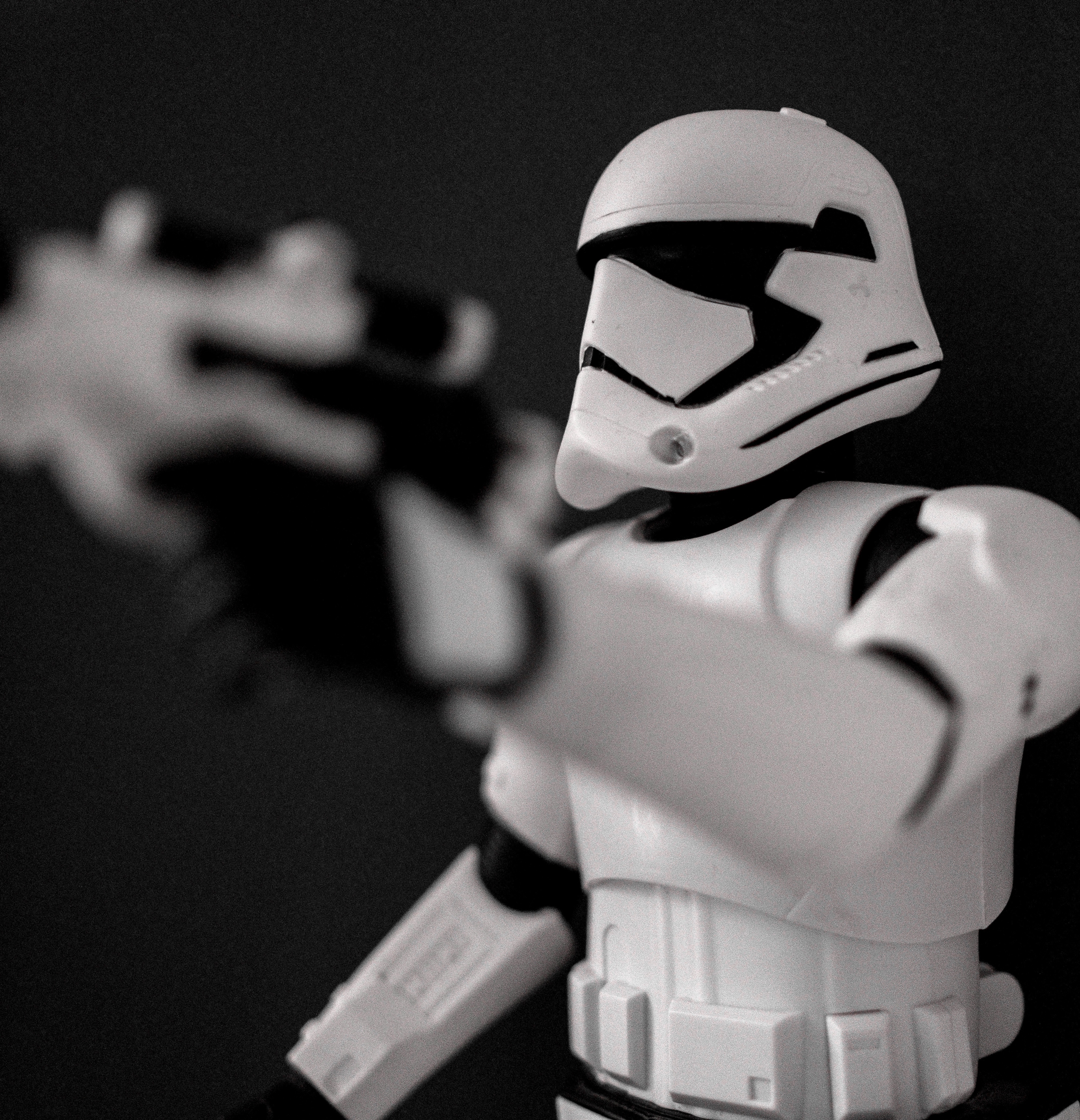 A photograph of a First Order Stormtrooper