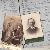 Two old portraits on cabinet cards and a civil registration page