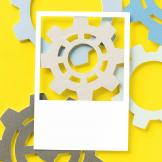 gears on yellow background