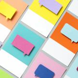 A series of coloured post-it notes