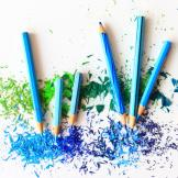 Image of blue pencil crayons