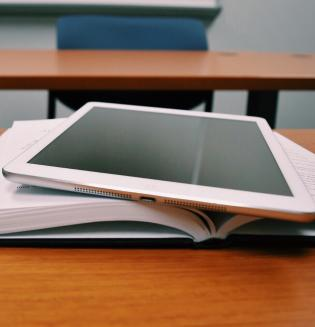 Library books, tablet