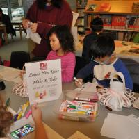 children doing crafts for Lunar new year